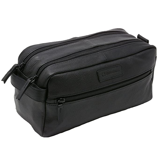 Alpine Swiss Sedona Toiletry Bag Genuine Leather Shaving Kit Dopp Kit  Travel Case Black c79069a959
