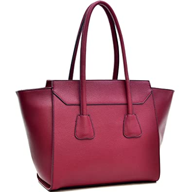 ac2e8a27bedc Dasein Women s Designer Top Handle Satchel Handbag Purse Shoulder Bag With  Shoulder Strap (628 Burgundy