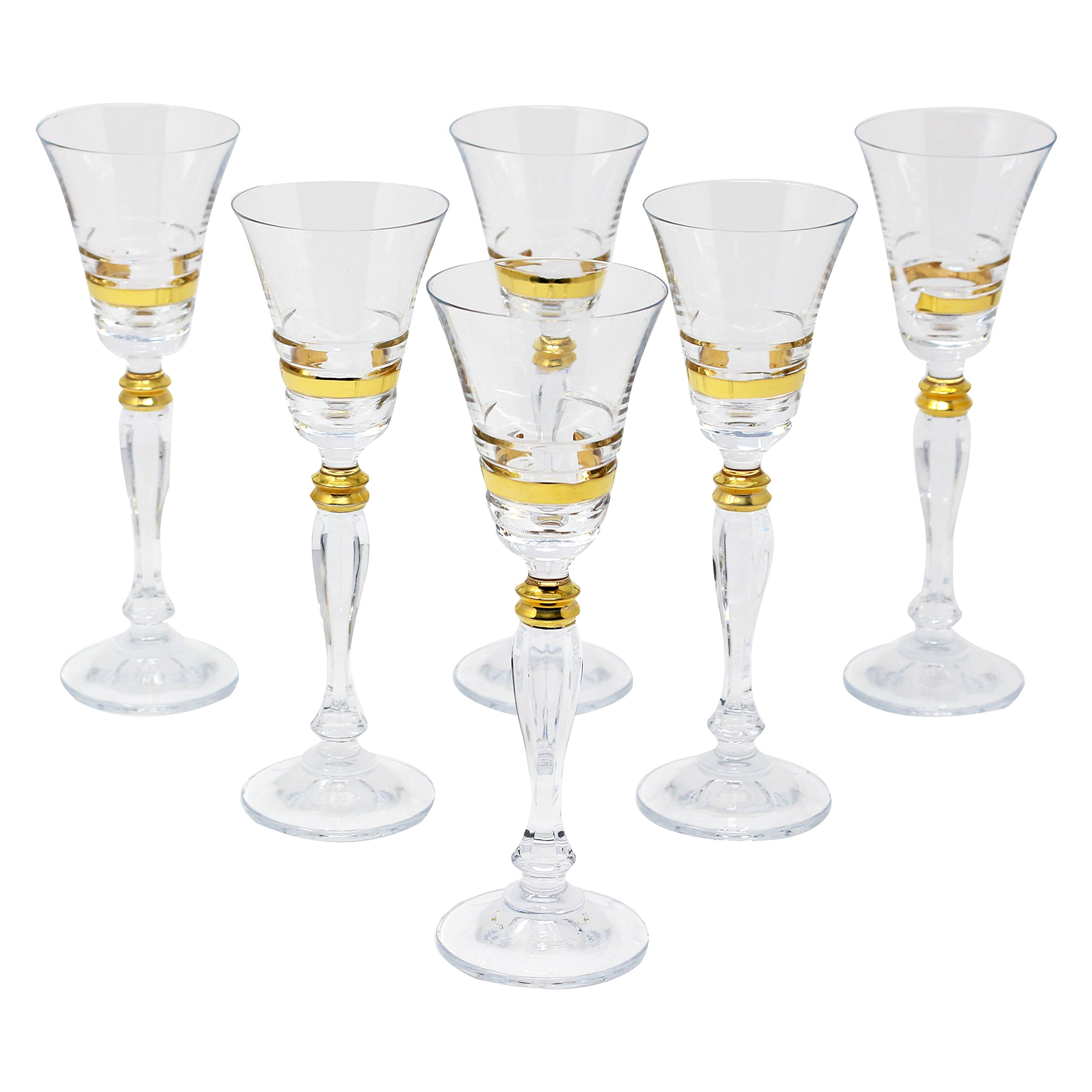 Glazze Crystal APP-078-GL Appalachia Luxury Crystal Liquor Glasses (Set of 6), Gold