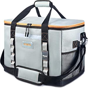 [2021 New] INSMEER Large Cooler Bag 65 Can Leak-Proof Lunch Box Insulated/Collapsible/Easy Clean,with Bottle Opener&Removable Shoulder Strap, Suitable for Beach Picnic Grocery Shopping Camping 48L
