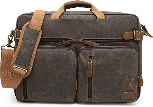 CoolBELL Laptop Messenger Bag Vintage Shoulder Bag Convertible Backpack Retro Briefcase Versatile Travel Bag Fits 17.3 Inch Laptop for Men College Business Waxed Canvas Brown