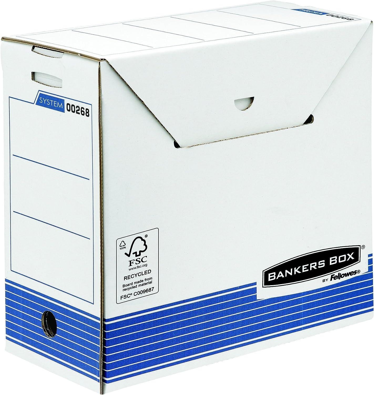 Bankers Box Plus - Caja de archivo definitivo automático, A4, lomo 160 mm, color blanco y azul: Amazon.es: Oficina y papelería