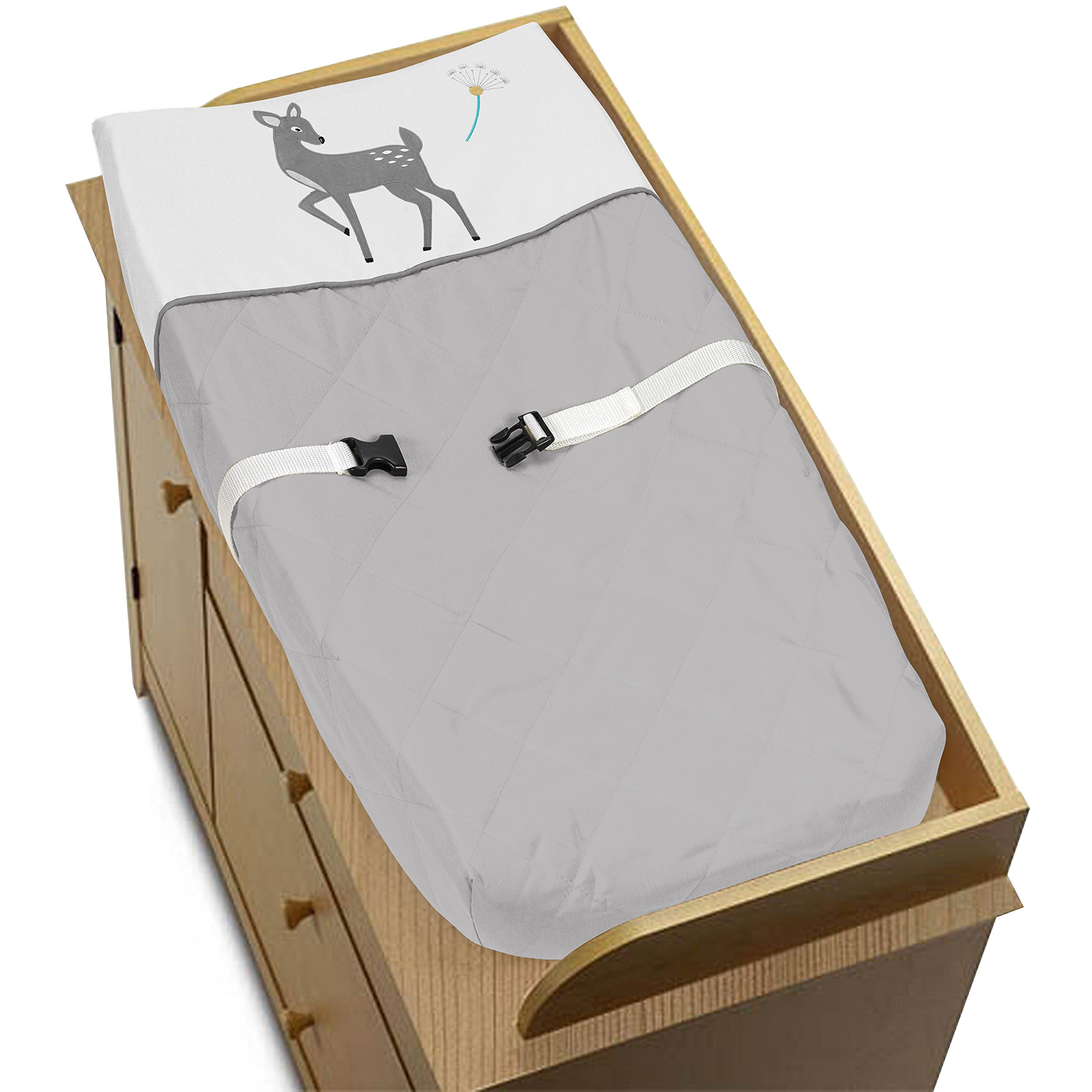 Sweet Jojo Designs Baby Changing Pad Cover for Grey Gold and White Forest Deer and Dandelion Collection