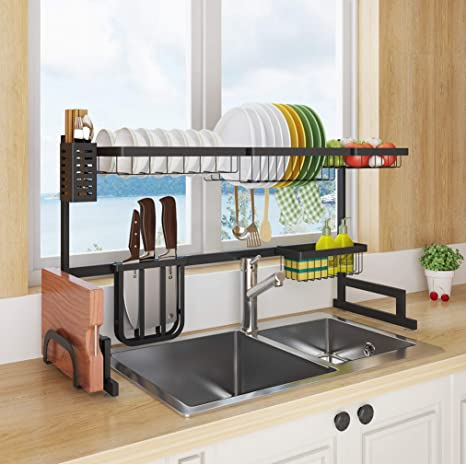 Amazon Com Sincalong Length Adjustable Stainless Steel Over Sink Rack 2 Tier Multifunctional Kitchen Supplies Shelf Dish Drainer For Sin 1 Black Kitchen Dining
