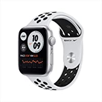 Apple Watch Nike SE GPS, 44mm Silver Aluminium Case with Pure Platinum/Black Nike Sport Band - Regular