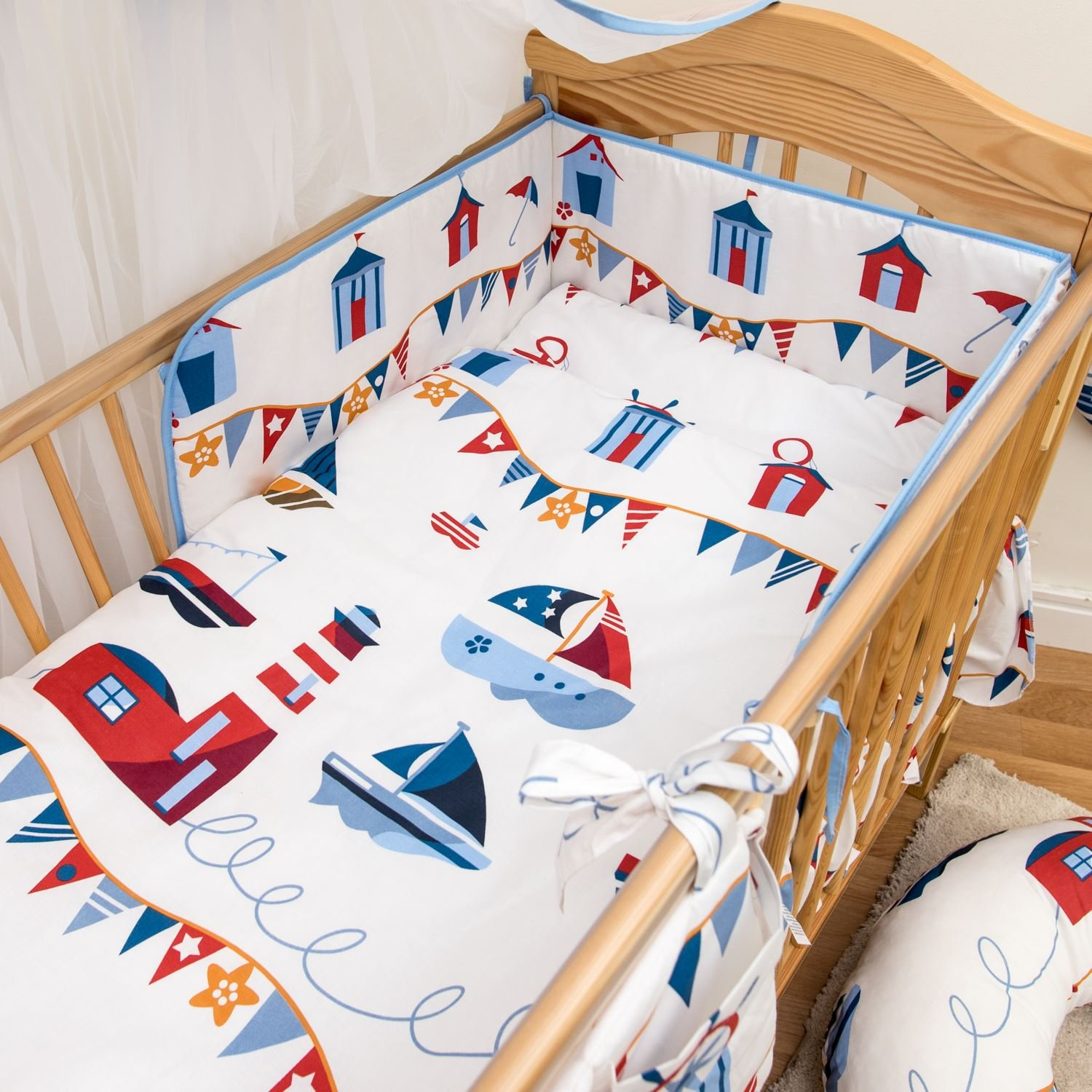 6 Pcs Cotton Baby Bedding, Regular Bumper Set 180cm/Cot Bed 140x70cm - Pattern 16 Baby Comfort