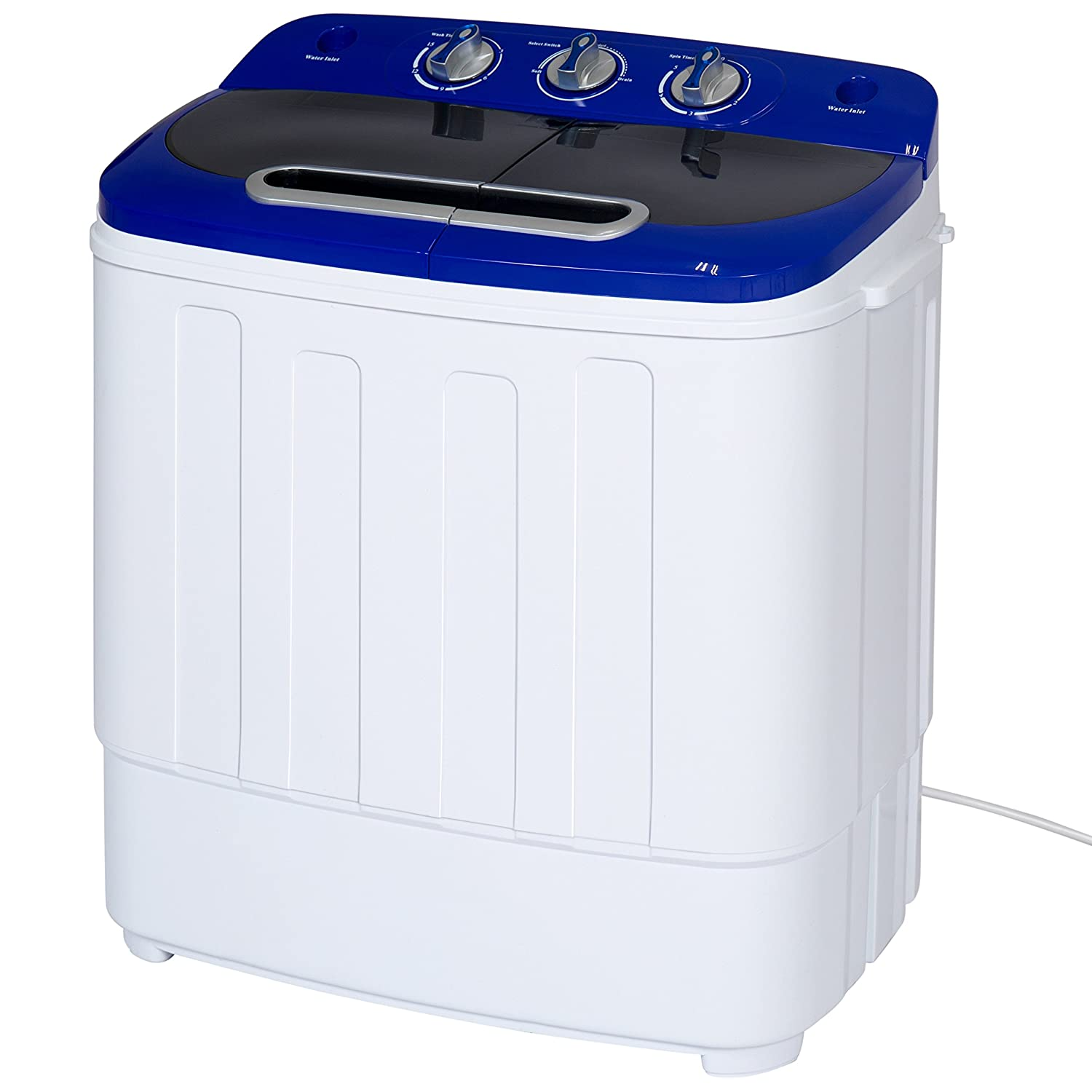 Portable Compact & Mini Twin Tub Washing Machine and Spin Cycle w/ Hose, 13lbs. Cap