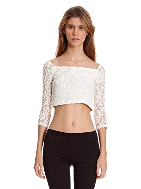 Bershka Top Blonda Cropped Manga 3/4 Blanco Roto S