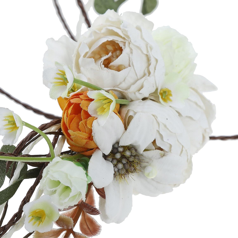 AWAYTR Boho Braut Blume Girlande Stirnband Frauen M/ädchen Einstellbare Baum Rattan Blatt Floral Haar Kranz Hochzeit Fotografie Dekoration