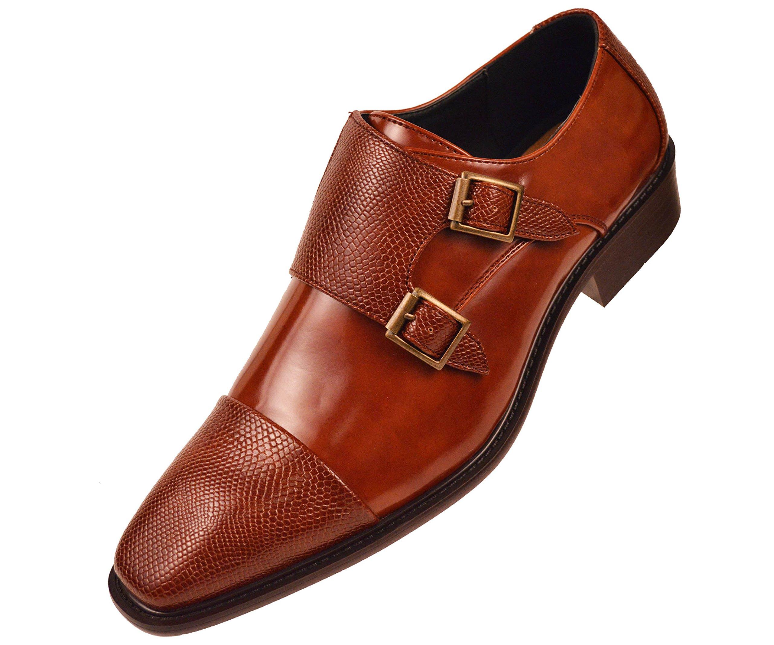 Bolano Mens Cognac Brown Smooth Double Monk Strap Dress Shoe Embossed Strap and Cap Toe: Bancroft-215 , Cognac , 14 D(M) US