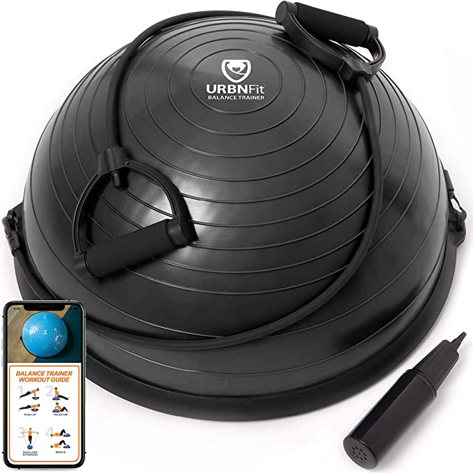 Balance Training Strength Training Exercise and 3-Stage Resistance Bands for Workout Monoprice GetFit Fitness Balance Trainer Ball with Anti-skid Base Air Pump Cardio