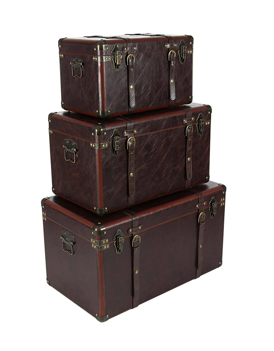 Deco 79 56977 Matte Leather Wood Trunks (Set of 3), Brown