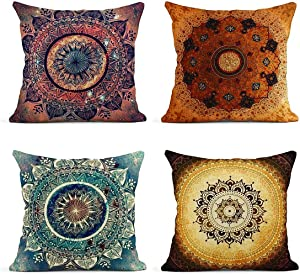 ArtSocket Set of 4 Linen Throw Pillow Covers Retro Floral Mandala Compass Medallion Bohemian Boho Summer Decorative Pillow Cases Home Decor Square 18x18 inches Pillowcases