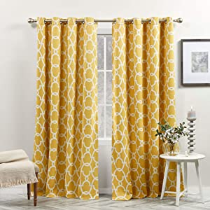 Exclusive Home Curtains EH8024-05 2-96G E Gates Sateen Blackout Thermal Window Curtain Panel Pair with Grommet Top, 52x96, Sundress Yellow, 2 Piece