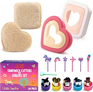 GET FRESH Sandwich Cutters and Sealers for Kids – 20-pcs Sandwich Sealers and Veggie Cutters set for Children – 2 Bread Cutters and Sealers with 5 Vegetable Shapes and 12 Unicorn Food Picks for Kids