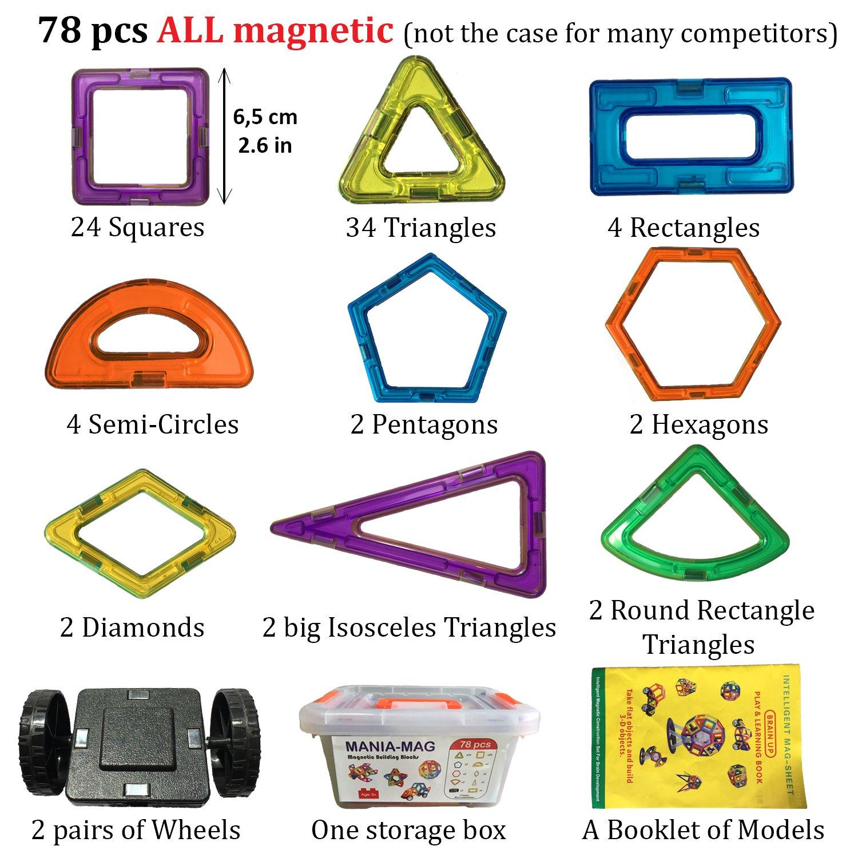 │ Erzieherisch und kreativ Konstruktion Spielzeug │Für Jungen und Mädchen über 3 Jahre alt Fliesen ohne die Buchstaben Großes Weihnachts und Magnetische Bausteine│78 größe magnetische Bauklötze mit e-Book 100 Modellen und einer Aufbewahrungsplastikbox