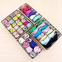 Ballery Schubladenunterteilungen, 4 Stück Aufbewahrungsboxen für Büstenhalter, Unterwäsche, Dessous, Socken (Beige)