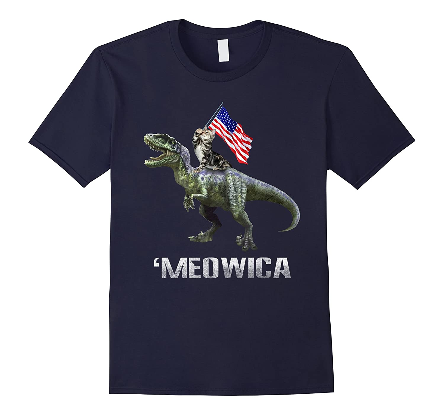 'Meowica-Cat Riding Dinosaur T-shirt-TH
