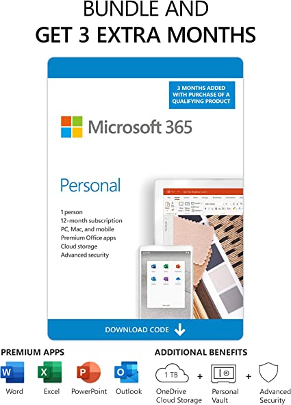 Amazon Com Microsoft 365 Personal 3 Months Free Plus 12 Month Subscription 1 User Premium Office Apps 1tb Onedrive Cloud Storage Pc Mac Download Renews To 12 Month Subscription Software