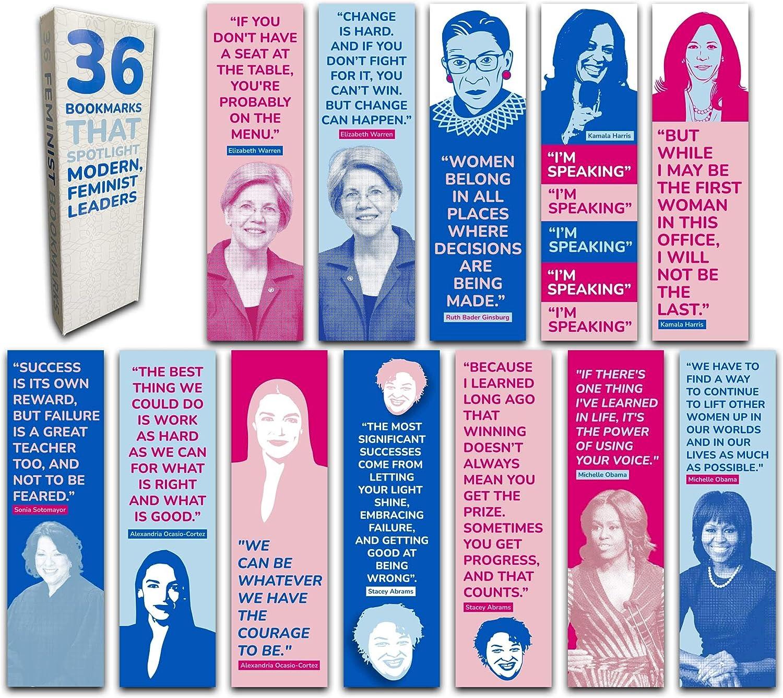 Señalador de libros lideres feministas y frases (Pack de 36)