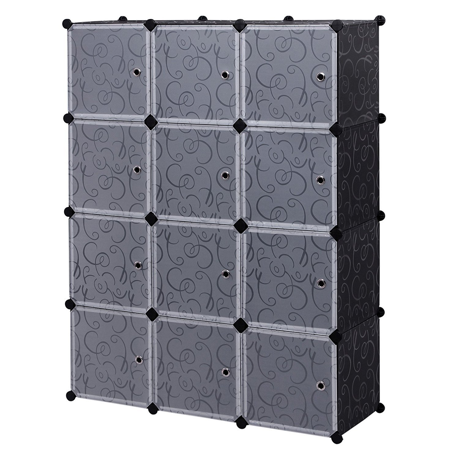 12 Cube Home Storage Cabinet Garage Storage Racks Sets, Shelf Cabinet, Panels and Units for Books, Plants, Toys, Shoes, Clothes, for Bedroom & Living Room (Black)