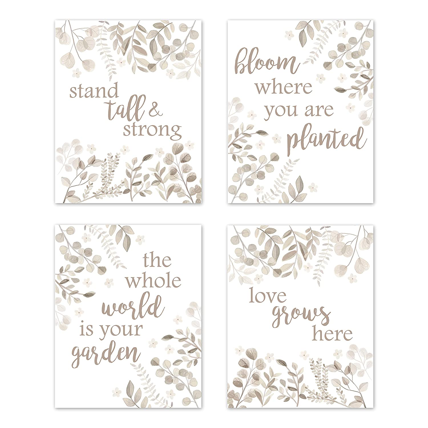 Sweet Jojo Designs Floral Leaf Wall Art Prints Room Decor for Baby, Nursery, and Kids - Set of 4 - Ivory Cream Beige Taupe and White Gender Neutral Boho Watercolor Botanical Woodland Tropical Garden