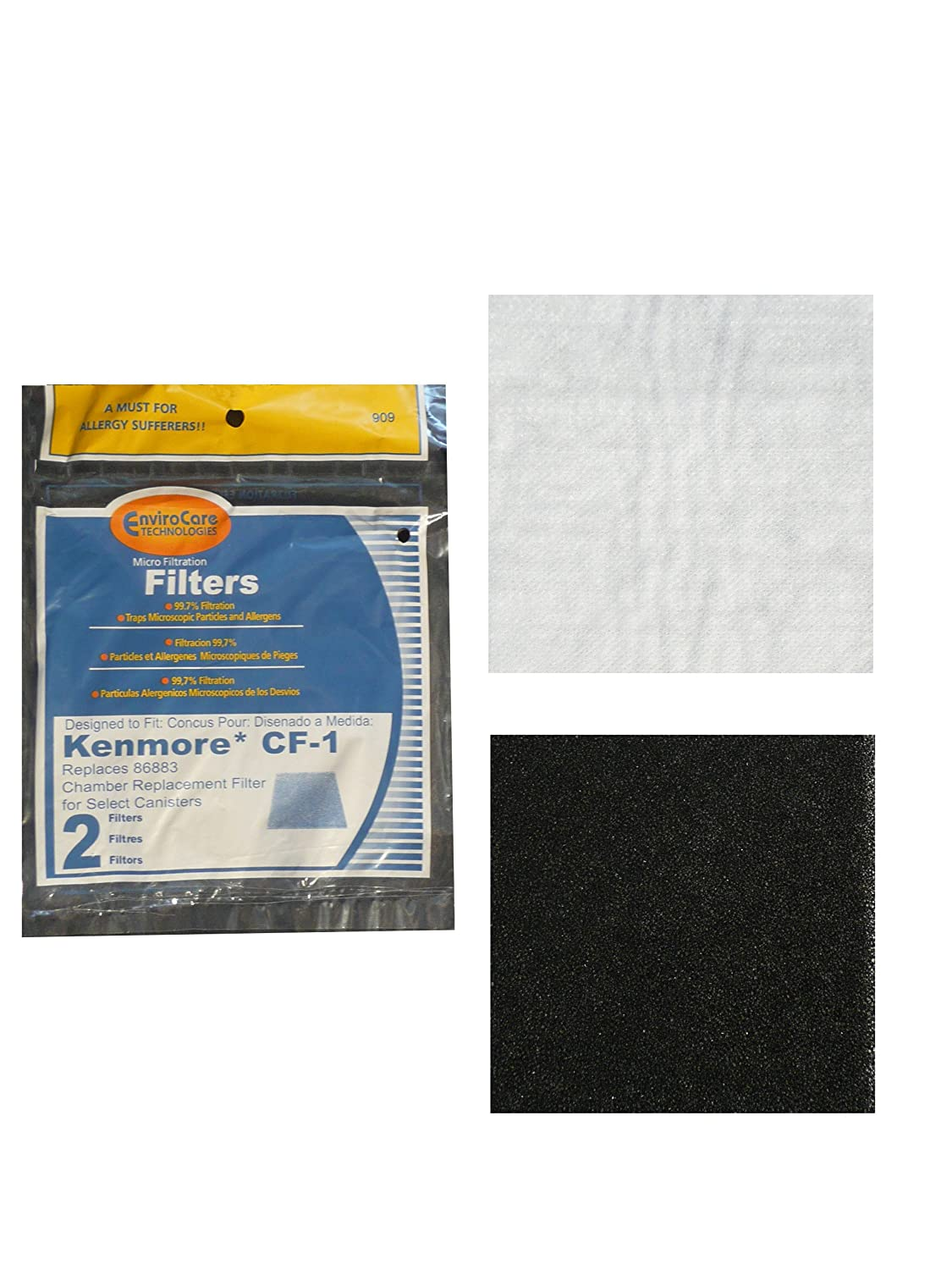 Kenmore Sears Progressive Foam Filter CF1, Progressive & Whispertone, Panasonic Vacuum Cleaners, 86883, 86880, 20-86883, 208 (2 Filters)