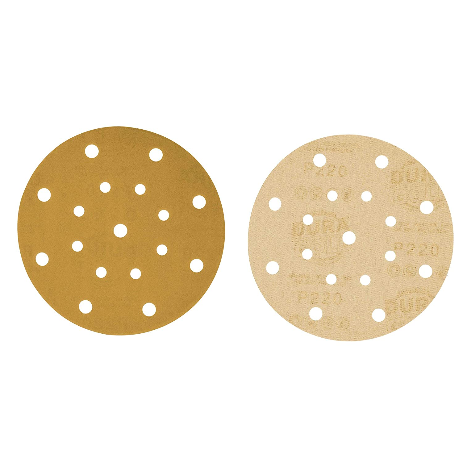 Box of 50 Finishing Sandpaper Discs for Woodworking or Automotive 17-Hole Pattern Dustless Hook and Loop for DA Sander 6 Gold Sanding Discs 100 Grit Premium Dura-Gold