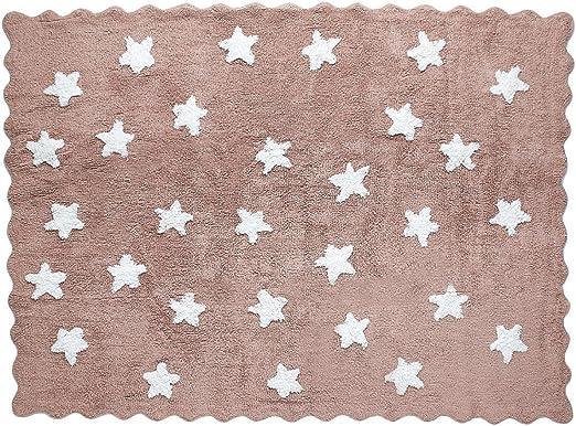 Lilipouce Alfombra Infantil algodón Estrellas Eden, Tela, marrón ...