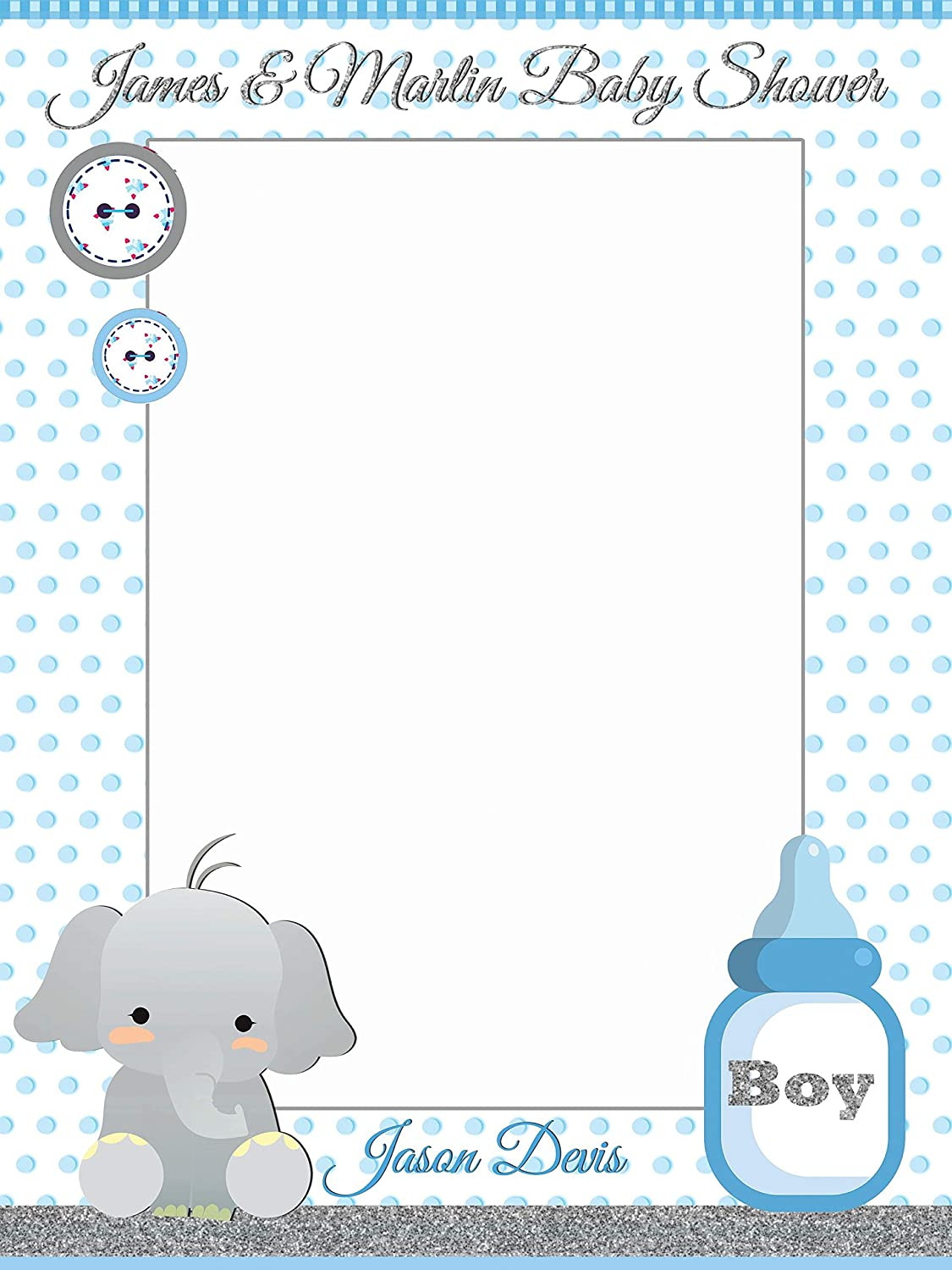 Elephant Baby Shower Decorations, Elephant Photo Booth Prop - Sizes 36x24,  48x36; Personalized Little Elephant Photobooth Frame, animal, baby boy  Handmade ...