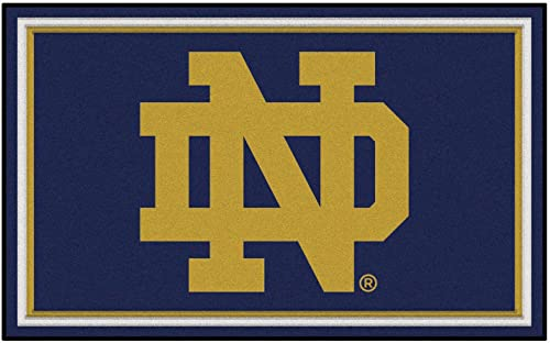 FANMATS NCAA Notre Dame College Sports Team Logo Nylon Carpet Indoor Home Room Decorative Tailgating Party Area Rug Floor Mat 4×6 46 x72