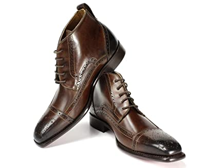 f95638036ff0 Ivan Troy Chaka Brown Boot Handmade Men Italian Leather Dress Boots/Ankle  Boots (EU