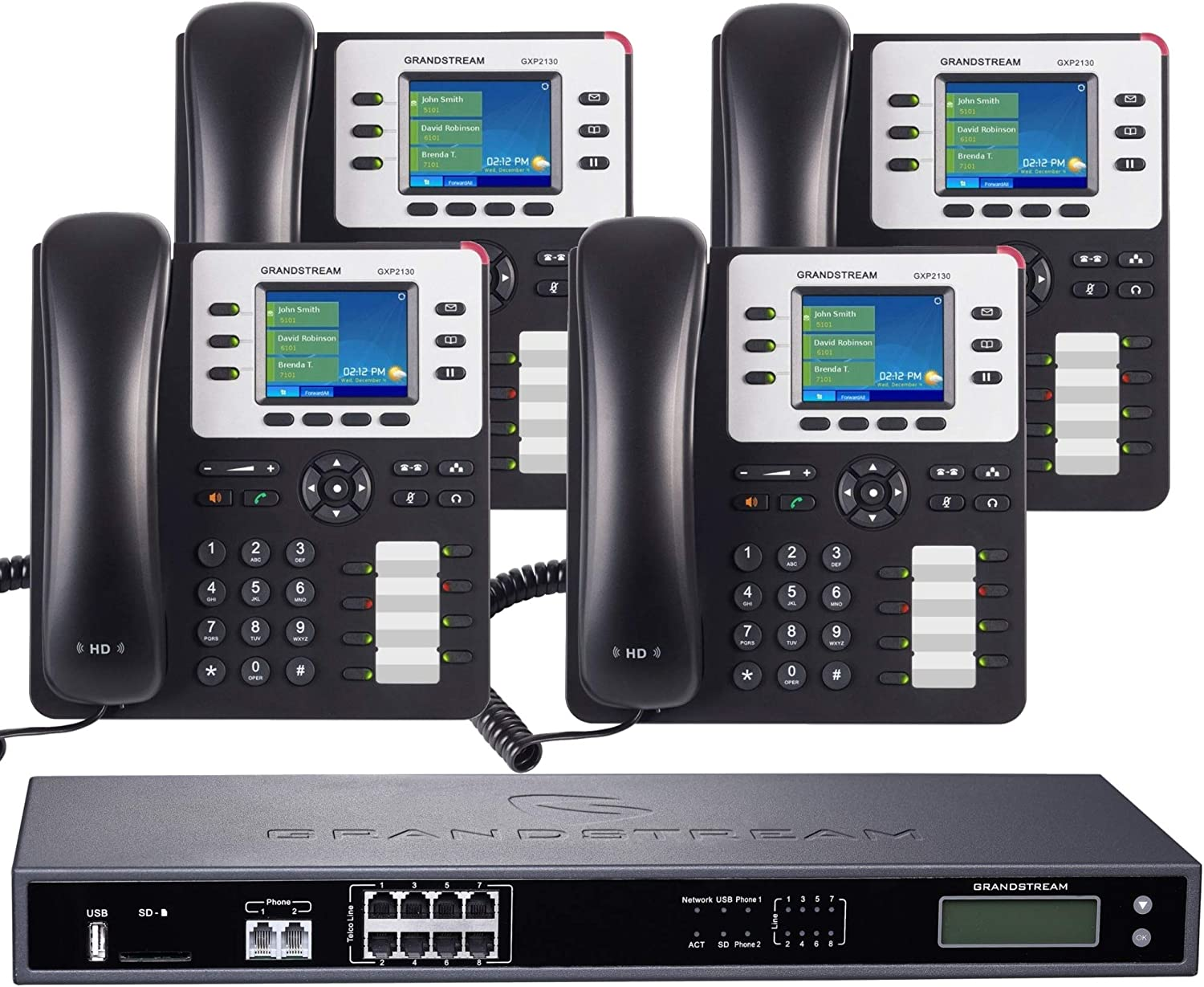 8-Line Business Phone System: Enhanced Pack with Auto Attendant, Voicemail, Cell & Remote Phone Extensions, Call Recording & 1 Year Free Mission Machines Phone Service (4 Phone Bundle)