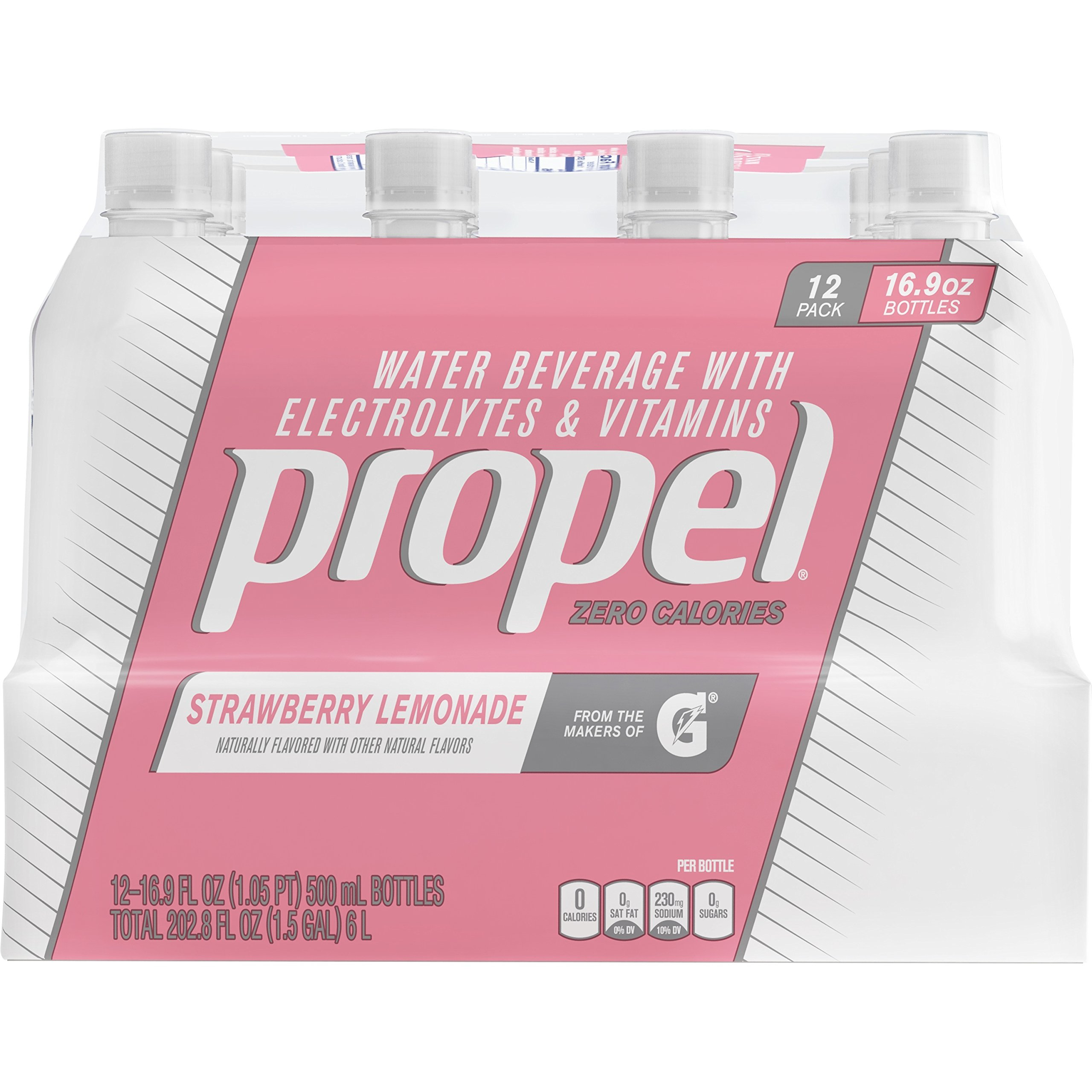 Propel, Strawberry Lemonade, Zero Calorie Sports Drinking Water with Electrolytes and Vitamins C&E, 16.9 Ounce Bottles (Pack of 12)