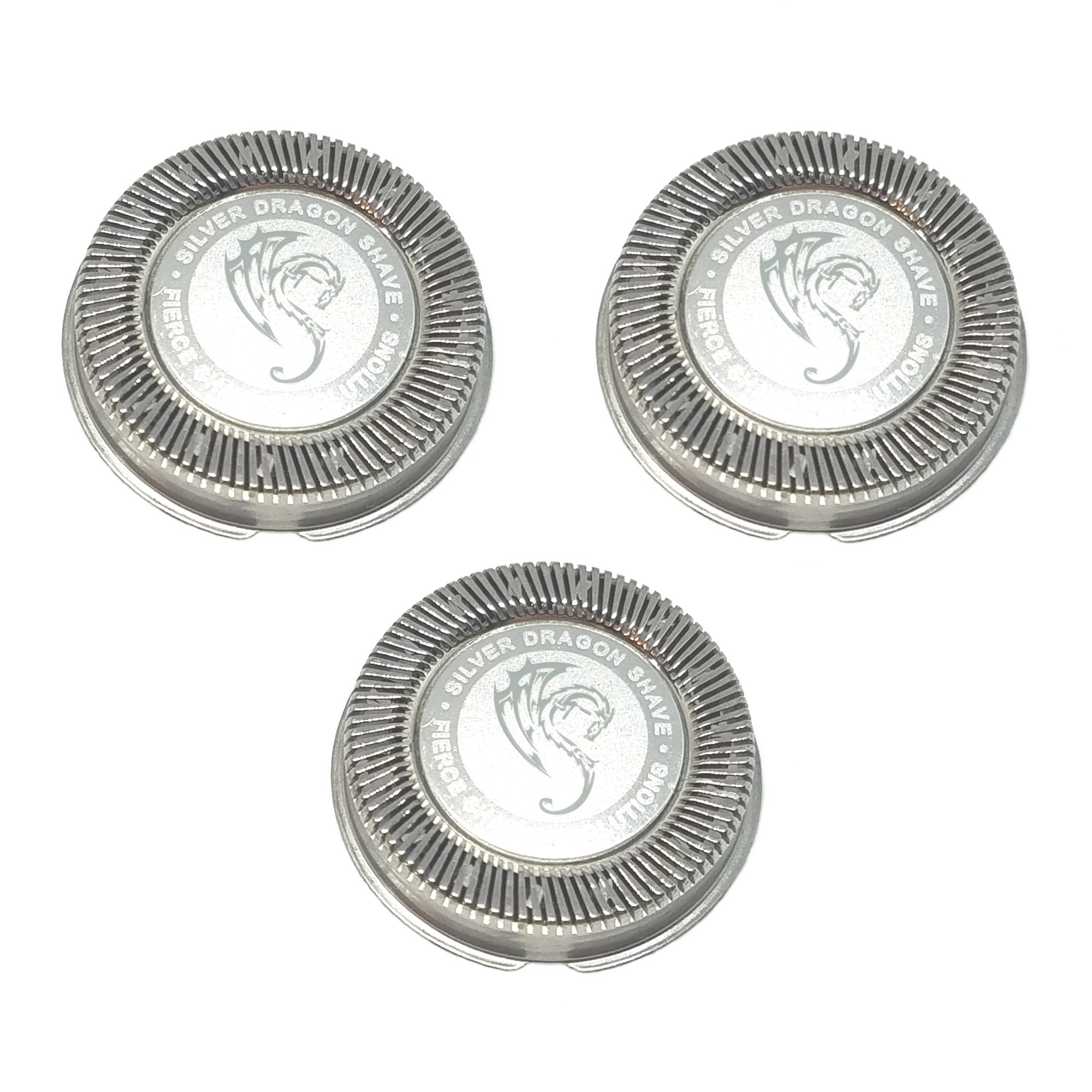 HQ56 HQ55 HQ4 HQ3 Replacement Heads Set of 3 Precision Silver Dragon Universal Cooling Surface Blades for Philips Norelco Compatible Electric Shavers (3)