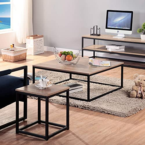 Modern Rectangle Wooden Coffee Table, Easy Assembly Stable Waterproof Metal Frame Cocktail Table Dining Table Accent Furniture Type 4