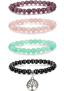 122877f993 Thunaraz 4pcs 8mm Natural Healing Stone Bracelets for Men Women Beaded  Bracelets Elastic Tree of Life