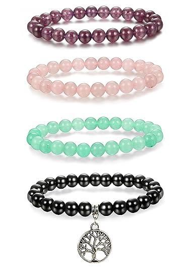 Amazon.com  Thunaraz 4pcs 8mm Natural Healing Stone Bracelets for ... 3c08948ce9