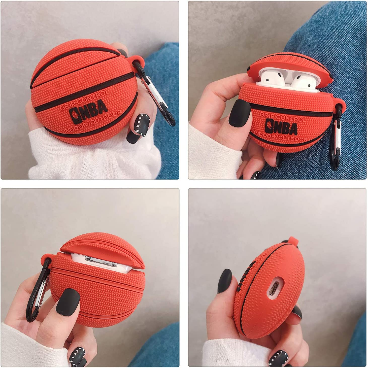 Basketball Airpods Case Dolopow AirPods Accessories Shockproof Protective Premium Silicone Cover Skin for AirPods Charging Case 2 /& 1