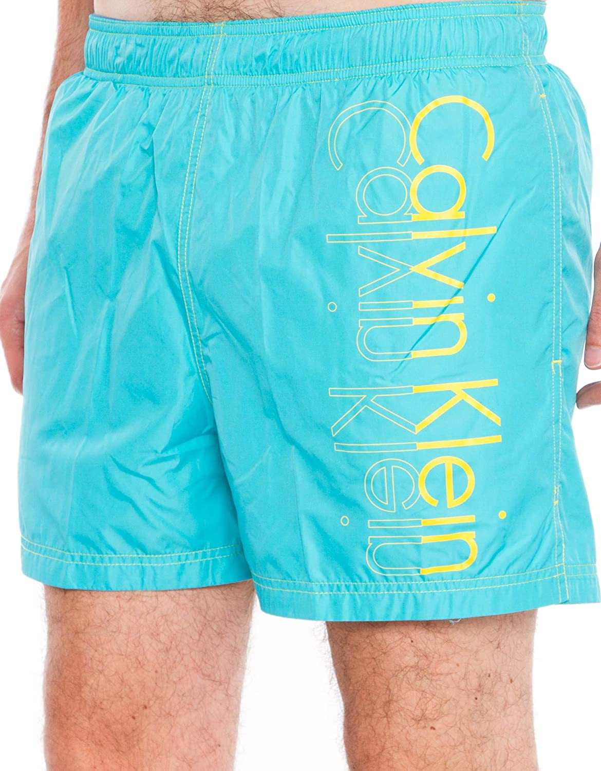 Calvin Klein Logo Placement Drawstring Swim Shorts, Blue/Yellow Size: