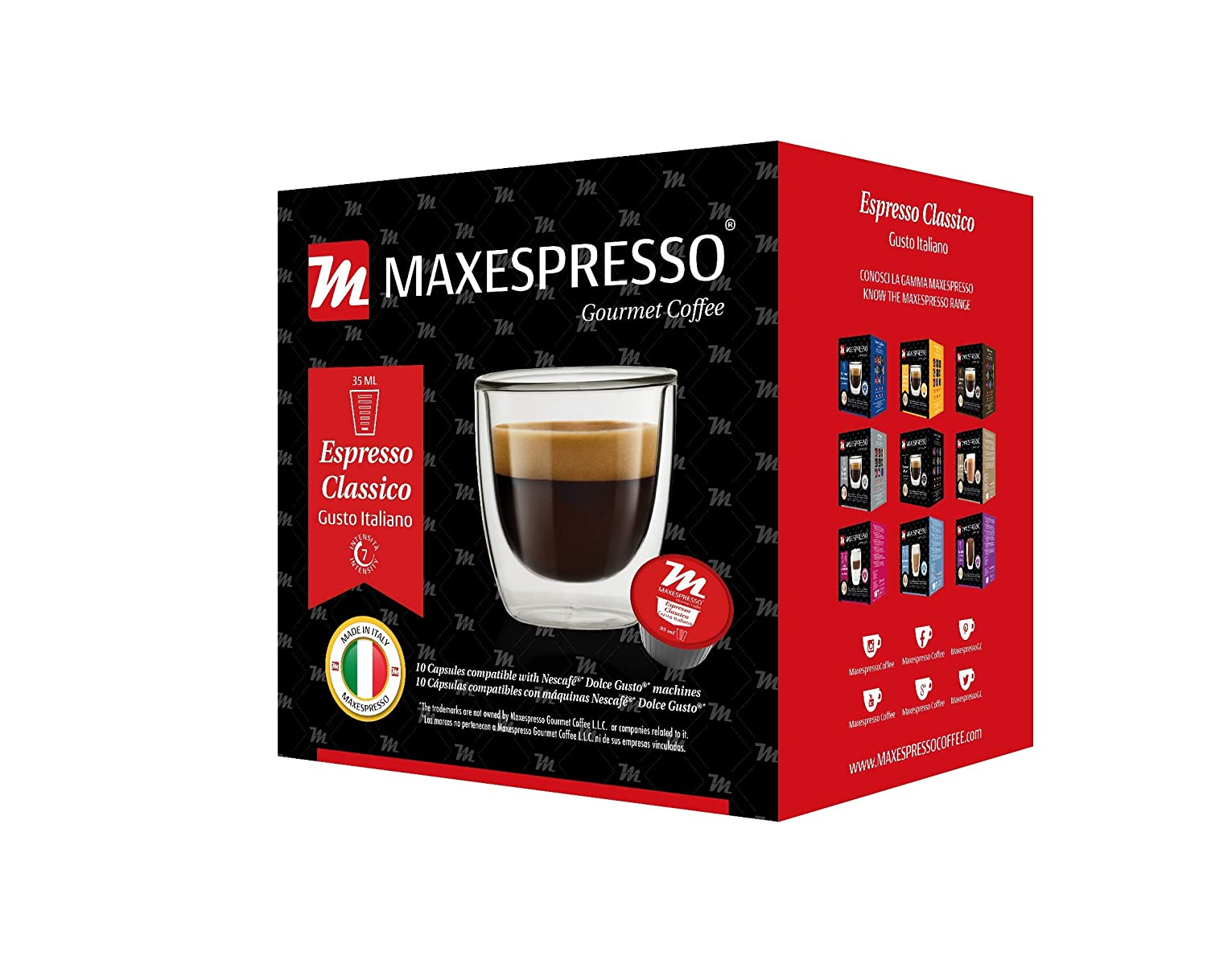 Amazon.com: MaxEspresso Gourmet Coffee,100% Made In Italy. - (Dolce Gusto Compatible Coffee Capsule) (Classico, 1 Pack of 10 Capsules): Kitchen & Dining