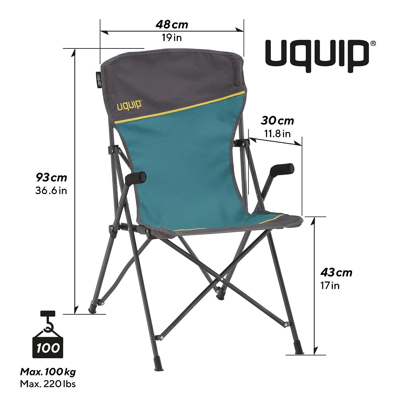 Uquip Izzy hasta 100 kg Silla de Camping con Respaldo hasta los Hombros