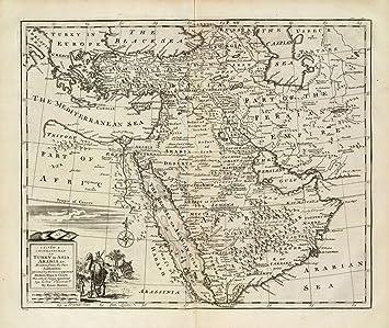 Amazoncom 1747 Old Historical Map Saudi Arabia UAE Qatar Kuwait