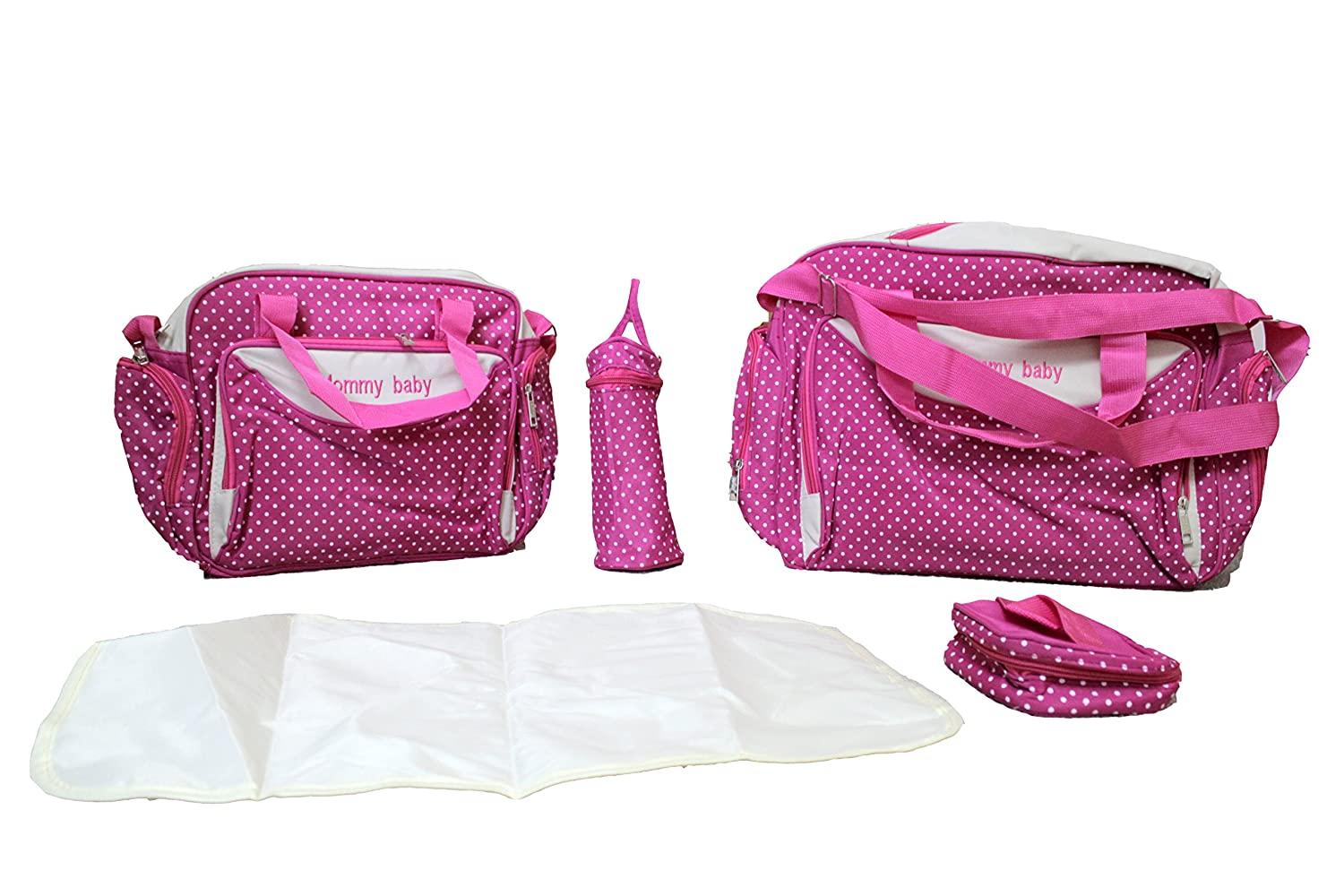 HOT PINK DESIGN ONE 5pcs Baby Nappy BLACK Changing Bags Set