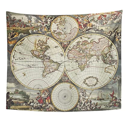 Amazon Emvency Tapestry Old Map Of World Hemispheres Created By