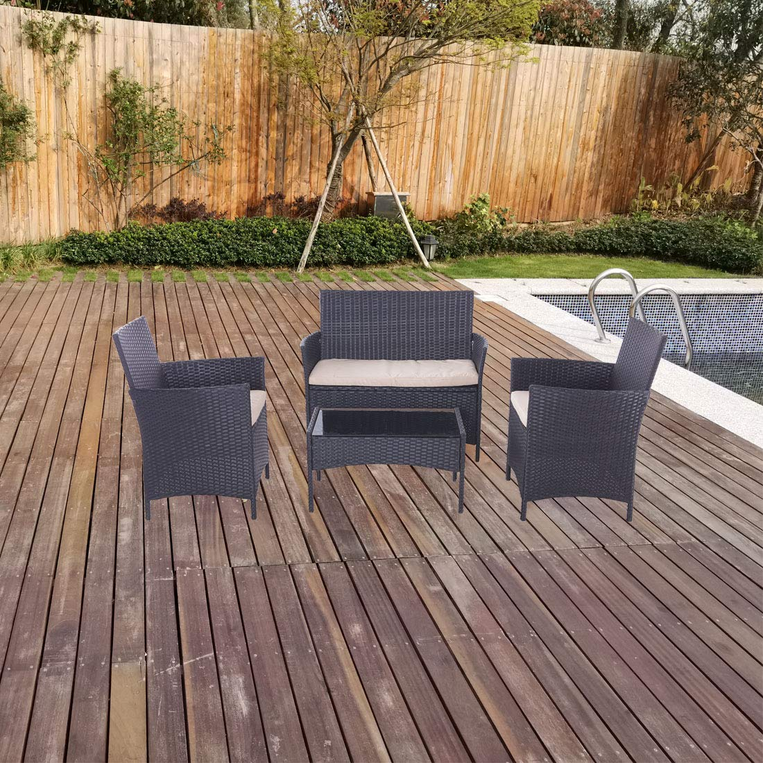 United Flame Cafe sets 3 Pieces Outdoor Patio Furniture Sets Black Rattan Chair Wicker Set Backyard Porch Lawn Garden Balcony Furniture Set with Cushions and Glass Table All Weather RTA Furniture Sets