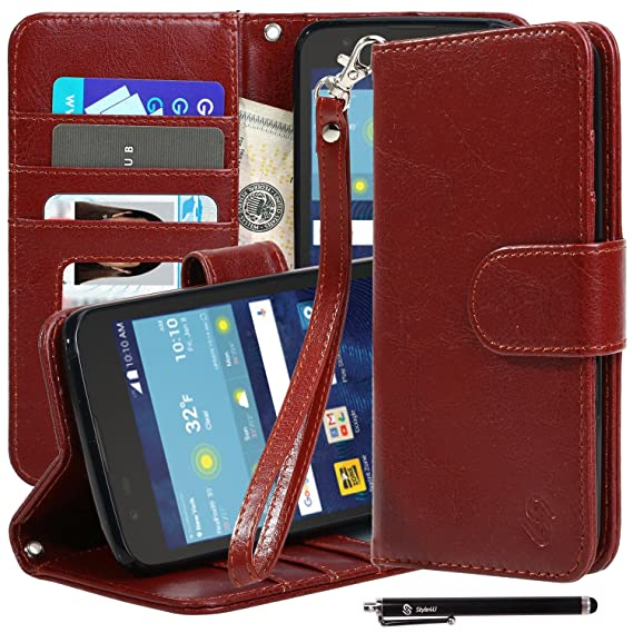 online retailer 93537 e82c6 LG K7 Case, LG Tribute 5 Case, Style4U Premium PU Leather Stand Wallet Case  with ID Credit Card / Cash Slots for LG K7 / LG Tribute 5 with 1 Stylus ...