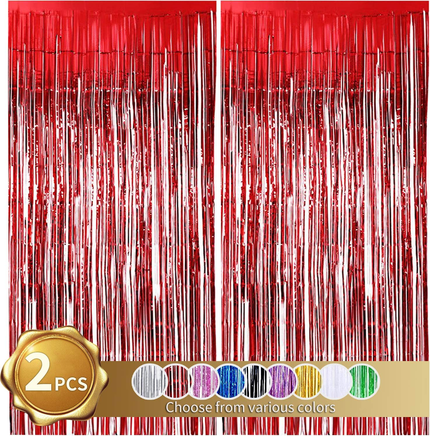 2 Pack Foil Fringe Curtains Christmas Photo Backdrop Red Tinsel Metallic Curtains Photo Props Background for Christmas Wedding Bridal Shower Birthday Bachelorette Party Stage Decor(3.28 ft x 6.56 ft)