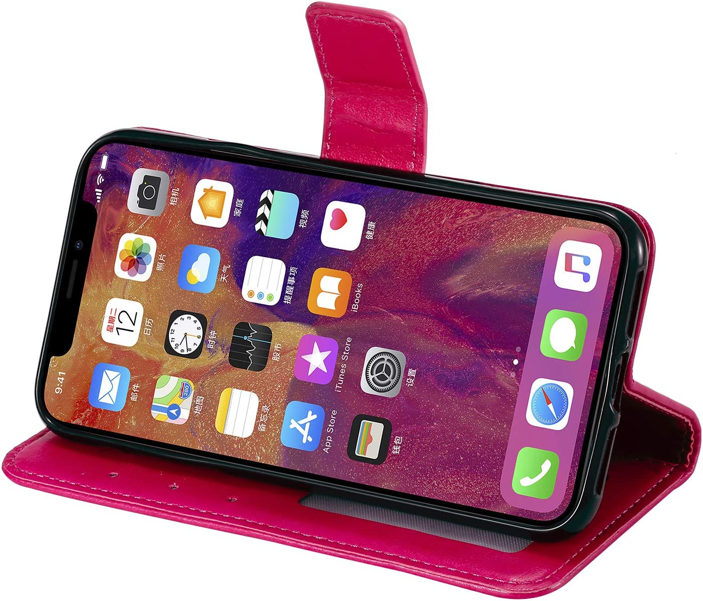Lomogo Leather Wallet Case for iPhone XR with Stand Feature Card Holder Magnetic Closure Shockproof Flip Case Cover for Apple iPhone XR LOHHA130069 Green