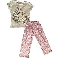 E-Fashion Conjunto de Pijama de Unicornio Suave y cómoda para Dormir, Manga Corta, Blanca